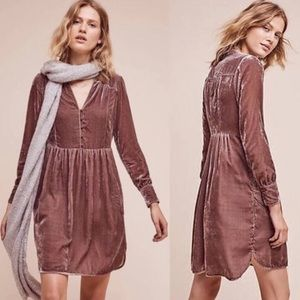 Anthropologie Holding Horses Mauve Velvet Dress
